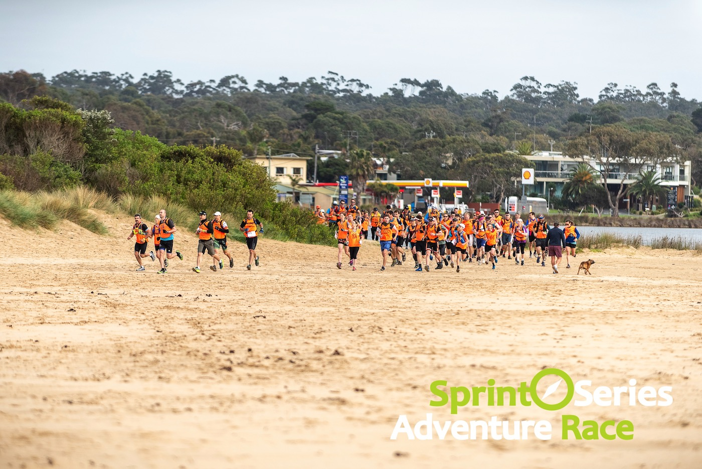 sprint series adventure race mass start on the beach